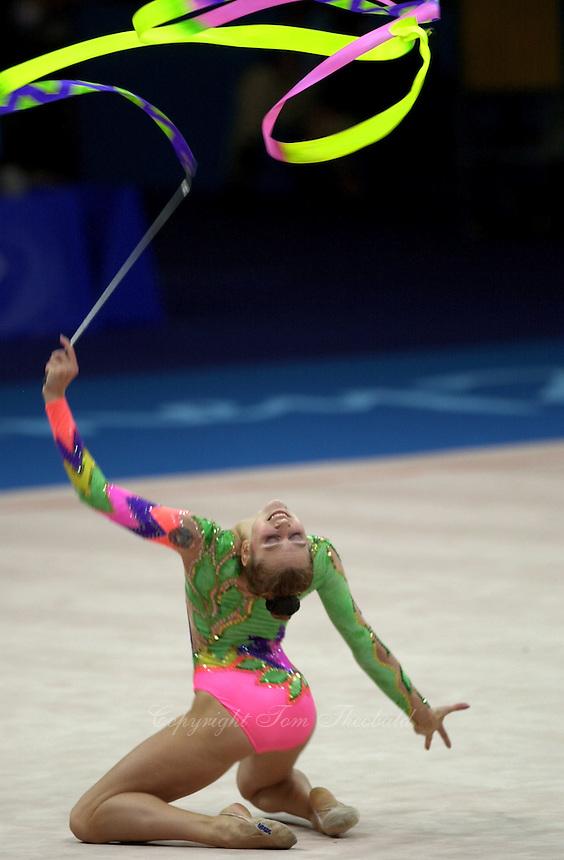 Sep 29, 2000; SYDNEY, AUSTRALIA:<br /> Valeria Vatkina of Belarus performs with ribbon during rhythmic gymnastics qualifying at 2000 Summer Olympics.