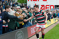 Freddie Burns of Leicester Tigers shakes hands with supporters on the occasion of his final home appearance for the club. Aviva Premiership match, between Leicester Tigers and Sale Sharks on April 29, 2017 at Welford Road in Leicester, England. Photo by: Patrick Khachfe / JMP