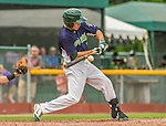 8 July 2014: Vermont Lake Monsters outfielder Ben McQuown in action against the Lowell Spinners at Centennial Field in Burlington, Vermont. The Lake Monsters rallied with two runs in the 9th to defeat the Spinners 5-4 in NY Penn League action. Mandatory Credit: Ed Wolfstein Photo *** RAW Image File Available ****