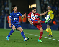 Atletico Madrid's  Jorge Resurreccion and Leicester City's Ben Chilwell<br /> <br /> Photographer Stephen White/CameraSport<br /> <br /> UEFA Champions League Quarter Final Second Leg - Leicester City v Atletico Madrid - Tuesday 18th April 2017 - King Power Stadium - Leicester <br />  <br /> World Copyright &copy; 2017 CameraSport. All rights reserved. 43 Linden Ave. Countesthorpe. Leicester. England. LE8 5PG - Tel: +44 (0) 116 277 4147 - admin@camerasport.com - www.camerasport.com