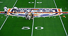 Jan 5, 2013; A painting crew prepares the field at Sun Life Stadium in Miami, Florida. Notre Dame will be squaring off against the Alabama Crimson Tide in the 2013 BCS National Championship Monday night. Photo by Barbara Johnston/University of Notre Dame..