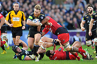 Ross Batty of Bath Rugby takes on the Toulon defence. European Rugby Champions Cup match, between Bath Rugby and RC Toulon on January 23, 2016 at the Recreation Ground in Bath, England. Photo by: Patrick Khachfe / Onside Images