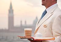Caffè latte and espresso coffee served on the beautiful 'Terrazza Danieli' of the Hotel Danieli, Venice, Italy