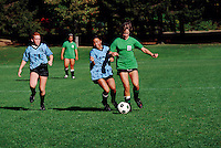 Girls playing Soccer on Youth Teams, on Sports Field at Memorial-West Park, Vancouver, BC, British Columbia, Canada