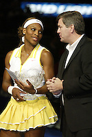15 November 2004: Serena chats with Tim Leiweke of AEG after Maria Sharapova (RUS) defeated Serena Williams (USA) 4-6, 6-2, 6-4 in the finals of the WTA Tour Championships on day six at the Staples Center in Los Angeles, CA.