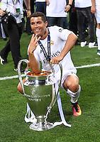 FUSSBALL  CHAMPIONS LEAGUE  FINALE  SAISON 2015/2016   Real Madrid - Atletico Madrid                   28.05.2016 Cristiano Ronaldo (Real Madrid) gewinnt zum dritten mal die Champions League.