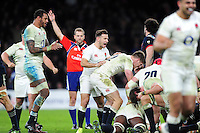 Danny Care of England celebrates as England are awarded a penalty in the last play of the game. RBS Six Nations match between England and France on February 4, 2017 at Twickenham Stadium in London, England. Photo by: Patrick Khachfe / Onside Images