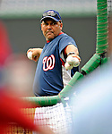 15 August 2008: Washington Nationals' bullpen coach Rick Aponte throws batting practice prior to facing the Colorado Rockies at Nationals Park in Washington, DC. The Rockies edged out the Nationals 4-3, handing the last place Nationals their 8th consecutive loss. ..Mandatory Photo Credit: Ed Wolfstein Photo