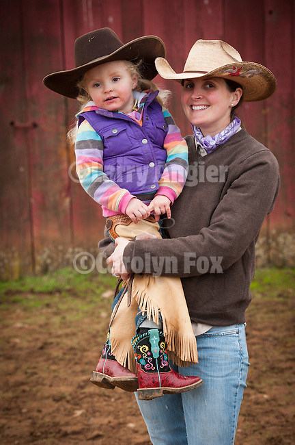 Calf marking at the Wooster Ranch, Red Barn, Calaveras County, Calif...Bretta and Kate Brooks