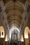 Nave and Ceiling of Saint Feliu Church in Girona, Catalonia, Spain
