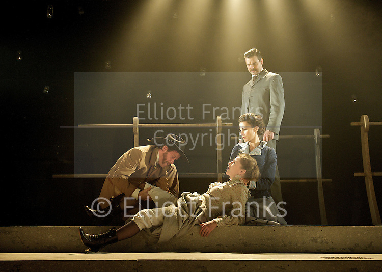 The Only True History of Lizzie Finn <br /> by Sebastian Barry <br /> at The Southwark Playhouse, London, Great Britain <br /> 28th June 2012 <br /> <br /> Justin Avoth (as Robert Gibson)<br /> Oliver J. Hembrough (as Colonel Cody)<br /> Lucy Black (as Jelly Jane)<br /> Shereen Martin (as Lizzie Finn)<br /> Penelope Beaumont (as Lucinda Gibson)<br /> <br /> Photograph by Elliott Franks