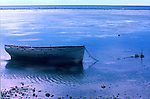 Boat tied in the shallows, Nuku'alofa on Tongan Islands, South Pacific. 1980