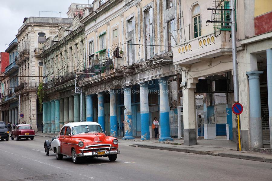 Cuba, Havana.  Early Morning Central Havana Street Scene.  1950 Chevrolet.