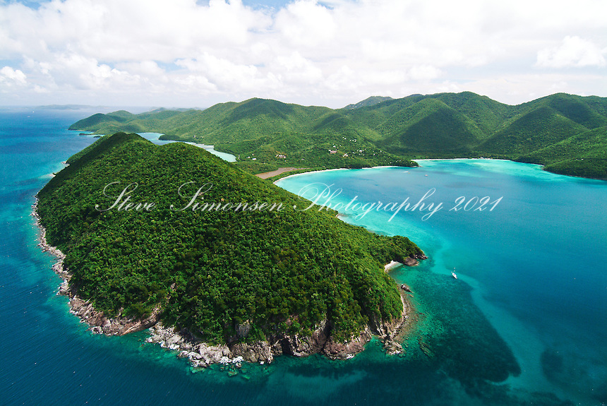 Aerial view of Mary Point St John showing Francis and Maho Bay.  US Virgin Islands