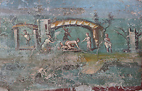 Fresco of an erotic scene, from the inner walls of the fountain in the summer triclinium of the garden area of the Casa dell Efebo, or House of the Ephebus, Pompeii, Italy. The fresco is in the Fourth Style of Roman wall painting, 60-79 AD, a complex narrative style. This is a large, sumptuously decorated house probably owned by a rich family, and named after the statue of the Ephebus found here. Pompeii is a Roman town which was destroyed and buried under 4-6 m of volcanic ash in the eruption of Mount Vesuvius in 79 AD. Buildings and artefacts were preserved in the ash and have been excavated and restored. Pompeii is listed as a UNESCO World Heritage Site. Picture by Manuel Cohen
