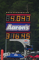 Jun. 19, 2011; Bristol, TN, USA: Detailed view of the scoreboard after NHRA funny car driver Robert Hight set a new speed record of 316.45 mph during the Thunder Valley Nationals at Bristol Dragway. Mandatory Credit: Mark J. Rebilas-