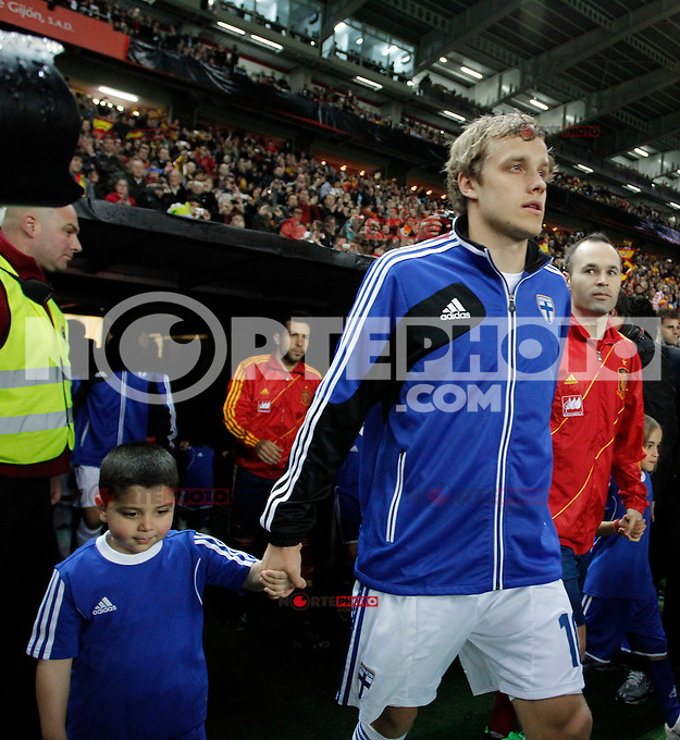 Finland's Pukki during international match of the qualifiers for the FIFA World Cup Brazil 2014.March 22,2013.(ALTERPHOTOS/Victor Blanco)
