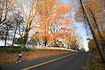 Woman running on a Connecticut road in the fall, USA