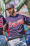 11 March 2013: Atlanta Braves catcher Matt Pagnozzi awaits his turn in the batting cage prior to a Spring Training game against the Washington Nationals at Space Coast Stadium in Viera, Florida. The Braves defeated the Nationals 7-2 in Grapefruit League play. Mandatory Credit: Ed Wolfstein Photo *** RAW (NEF) Image File Available ***
