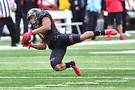 College Park, MD - NOV 26, 2016: Maryland Terrapins wide receiver D.J. Moore (1) makes a wide open diving catch during the game between Maryland and Rutgers at Capital One Field at Maryland Stadium in College Park, MD. Maryland defeated Rutgers 31-13. (Photo by Phil Peters/Media Images International)