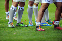 A general view of the Bath Rugby forwards wearing rainbow laces at a scrum. Aviva Premiership match, between Harlequins and Bath Rugby on November 27, 2016 at the Twickenham Stoop in London, England. Photo by: Patrick Khachfe / Onside Images