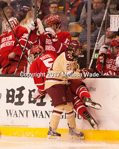 Chad Krys (BU - 5), Matthew Gaudreau (BC - 21) - The Boston University Terriers defeated the Boston College Eagles 3-1 in their opening Beanpot game on Monday, February 6, 2017, at TD Garden in Boston, Massachusetts.