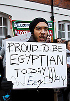 Protester - 2011<br /> <br /> London, 01/02/2011. Egyptian people protest peacefully outside the Egyptian embassy asking the President Hosni Mubarak to resign and demanding an immediate stop to violence against citizens in Egypt.