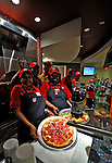 30 March 2008: Fresh pizza is ready to be served at Nationals Park on Opening Day and the inaugural game between the Atlanta Braves and the Washington Nationals in Washington, DC. The Nationals christened their new ballpark with a 3-2 win over the visiting Braves...Mandatory Photo Credit: Ed Wolfstein Photo..Mandatory Photo Credit: Ed Wolfstein Photo