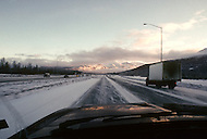 Highway 3, Palmer Area, Alaska, U.S.A, January 1989. A sudden cold wave struck Alaska resulting to the temperature falling under 50 degrees Centigrade (58 degrees Fahrenheit).