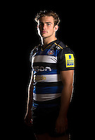 Max Clark poses for a portrait in the 2015/16 home kit during a Bath Rugby photocall on September 8, 2015 at Farleigh House in Bath, England. Photo by: Patrick Khachfe / Onside Images