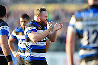 Ross Batty of Bath Rugby encourages his team-mates during a break in play. Aviva Premiership match, between Bath Rugby and Harlequins on February 18, 2017 at the Recreation Ground in Bath, England. Photo by: Patrick Khachfe / Onside Images