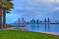 Ferry, Landing, Twilight,    Coronado, San Diego Skyline, California,