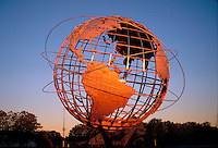 Unisphere a spherical stainless steel representation of the Earth. Located in Flushing Meadows - Corona Park, Queens, New York City, NY, Designed by landscape architect Gilmore D. Clarke