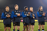 Bath Rugby players honour a minutes applause in memory of recently deceased Joost van der Westhuizen. Aviva Premiership match, between Bath Rugby and Northampton Saints on February 10, 2017 at the Recreation Ground in Bath, England. Photo by: Patrick Khachfe / Onside Images