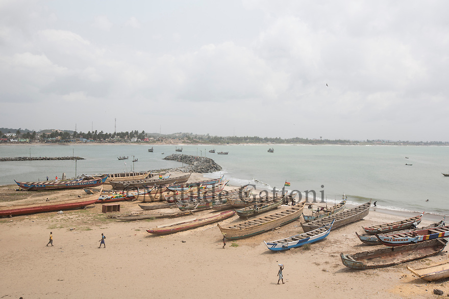 Ghana - El Mina harbour- Climate change is having serious effects on the coast of West Africa. Rising temperatures are causing increased molecular activity within the ocean waters, triggering sea level rise, coastal erosion, loss of biodiversity, migration of fish stocks and affecting the livelihoods of tens of millions of people along the coast.