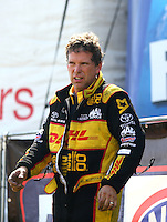 Sep 5, 2016; Clermont, IN, USA; NHRA funny car driver Del Worsham during the US Nationals at Lucas Oil Raceway. Mandatory Credit: Mark J. Rebilas-USA TODAY Sports