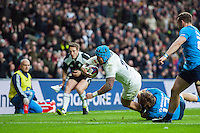 Jack Nowell of England dives for the try-line in the second half. RBS Six Nations match between England and Italy on February 26, 2017 at Twickenham Stadium in London, England. Photo by: Patrick Khachfe / Onside Images