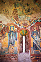 Twelfth century Romanesque frescoes of the Apse of Ginestarre depicting,The Virgin Mary and the Apostles, from the church of Santa Maria de Ginestarre, Catalonia, Spain. National Art Museum of Catalonia, Barcelona. MNAC 15971