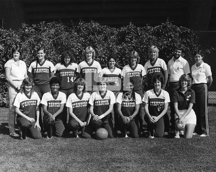 1983-84: Women's Basketball Team.<br /><br />Standing (left to right): Head Coach Dotty McCrea, Leslie Crandell, Lee Ann Margerum, Judy Griffith, Virginia Sourlis, Erica Mueser, Sue Sebolt, Asst. Coaches - Mike Kehoe, Eileen Roche.<br />Kneeling (left to right): Kim Mercer, Portia Rawls, ,Karen Goedewaagen, Sarah Evans, Judy Carter, Mary Bradach, and Trainer Karen Keshner.