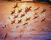 Navajo Pictograph of Horses and Riders - about 100 - 200 Years Old, Navajo Reservation, Arizona