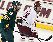 Matt White (UVM - 19), Brooks Dyroff (BC - 14) - The Boston College Eagles defeated the University of Vermont Catamounts 4-1 on Friday, February 1, 2013, at Kelley Rink in Conte Forum in Chestnut Hill, Massachusetts.