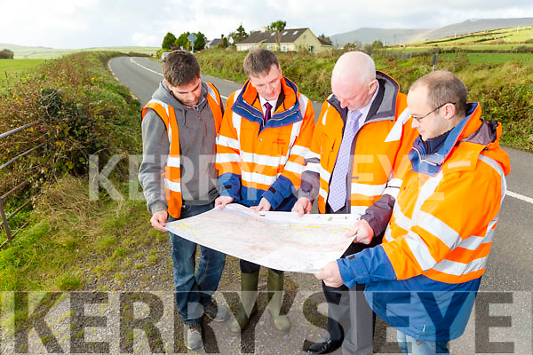 contract for the major improvement works between Lispole and Ballynasare and between Ballygarret and Camp on two new sections of the N86 road  has been awarded to Kerry-based Allman Contracts Ltd and Mid-Cork Tarmacadam Ltd operating as a joint venture. work will start monday. Pictured John McGillicuddy, engineer,  Allman Contracts Ltd, Dara Walsh, Project Manager KCC, Tim Allman, Allman Contracts Ltd, William O'Connell, Resident Engineer, RPS Consultants