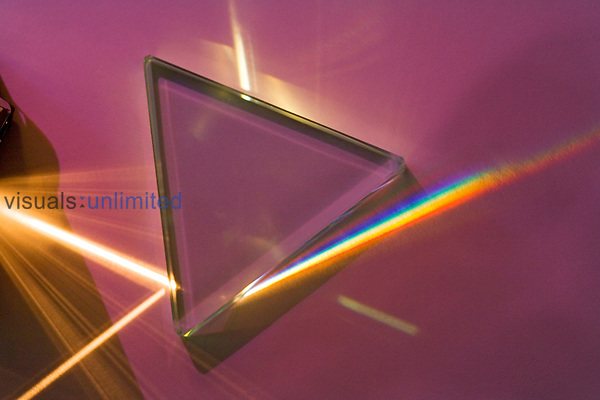 A glass prism separates white light into its full spectrum because the blue end of the spectrum ,higher frequency, is refracted more than the red end of the visible electromagnetic spectrum.