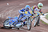 Heat 3: Ben Hopwood (blue) and Mike Buman - Hackney Hawks vs Team America - Speedway Challenge Meeting at Rye House - 09/04/11 - MANDATORY CREDIT: Gavin Ellis/TGSPHOTO - Self billing applies where appropriate - Tel: 0845 094 6026
