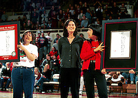 STANFORD, CA - JANUARY 21: Jennifer Azzi of the Stanford Cardinal acknowledges the crowd after returning to Maples to sign commemorative posters during Stanford's 78-62 win over the California Golden Bears on January 21, 2000 at Maples Pavilion in Stanford, California.