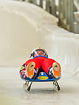 5 December 2014: Wolfgang Kindl, sliding for Austria, crosses the finish line on his first run, ending the day with a 2nd place finish and a combined 2-run time of 1:42.890 in the Men's Competition at the Viessmann Luge World Cup, at the Olympic Sports Track in Lake Placid, New York, USA. Mandatory Credit: Ed Wolfstein Photo *** RAW (NEF) Image File Available ***