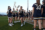 23 February 2017: Notre Dame's Katherine Eilers (13) is introduced before the game. The Elon University Phoenix hosted the University of Notre Dame Fighting Irish at Rudd Field in Elon, North Carolina in a 2017 Division I College Women's Lacrosse match. Notre Dame won the game 16-7.