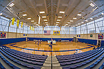 26 October 2014: Full Frame fisheye view of the CMSV gymnasium prior to NCAA Division III women's volleyball play between the Yeshiva University Maccabees and the College of Mount Saint Vincent Dolphins in Riverdale, NY. The Dolphins defeated the Maccabees 3-0. Mandatory Credit: Ed Wolfstein Photo *** RAW (NEF) Image File Available ***