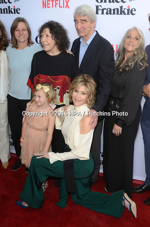 LOS ANGELES - MAY 1:  Lily Tomlin, Sam Waterston, Jane Fonda at the Grace & Frankie Season 2 Premiere Screening at the Harmony Gold on May 1, 2016 in Los Angeles, CA