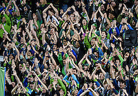 November, 2013: CenturyLink Field, Seattle, Washington:  SS fans clap as the Portland Timbers defeat  the Seattle Sounders FC 2-1 in the Major League Soccer Playoffs semifinals Round.